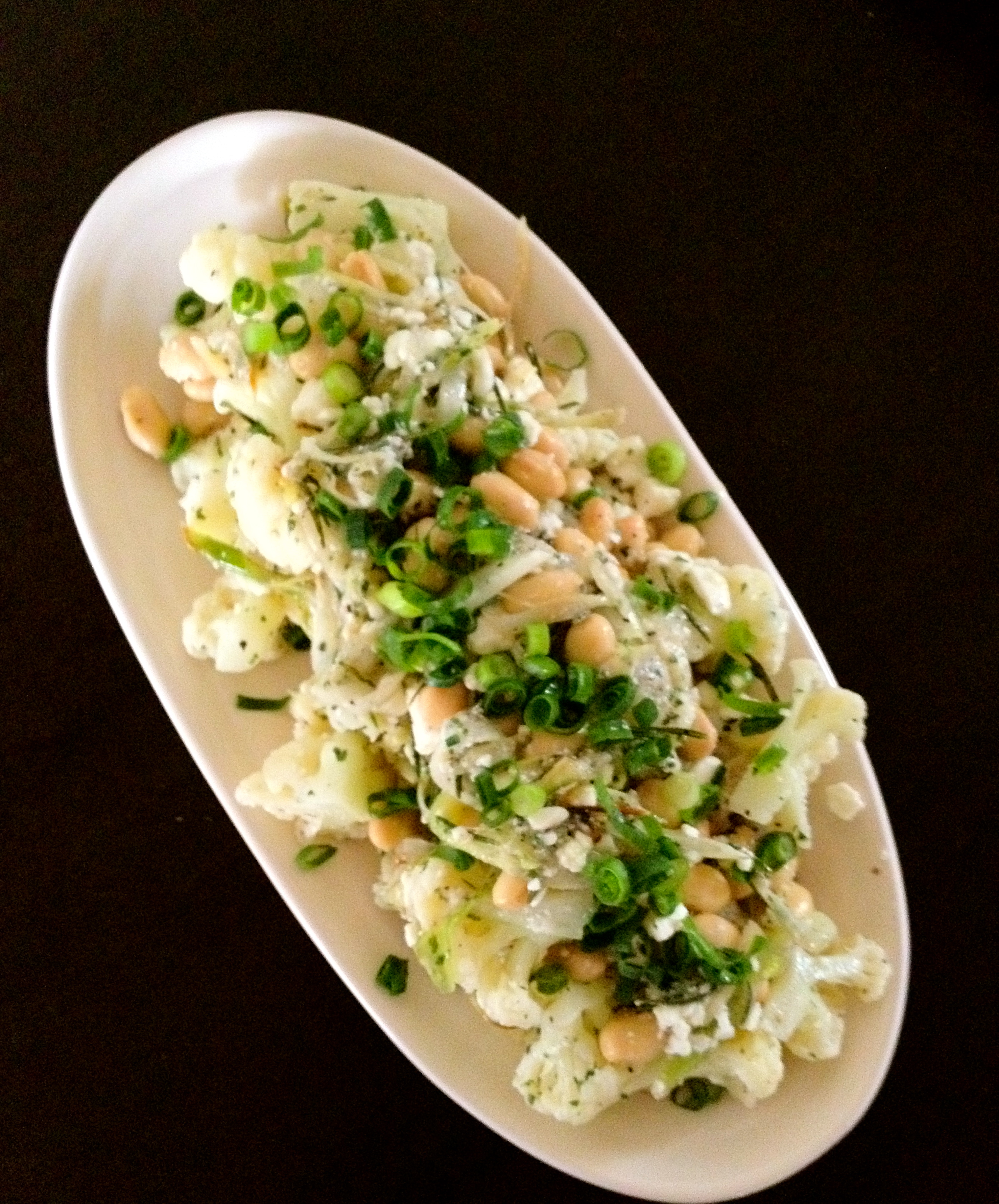 Cauliflower, white bean, feta and leek salad | onion sniffles