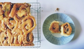 cinnamon buns filled with apples + raisins + nuts  (and a word about adult sleepovers)