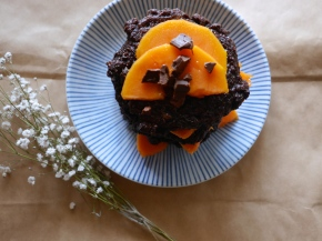 "Rye Oat ""Chocolate Cake"" Pancakes with Papaya"
